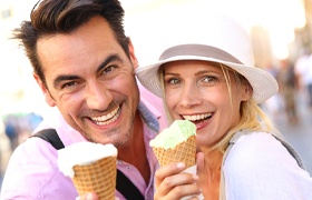 couple enjoying ice cream